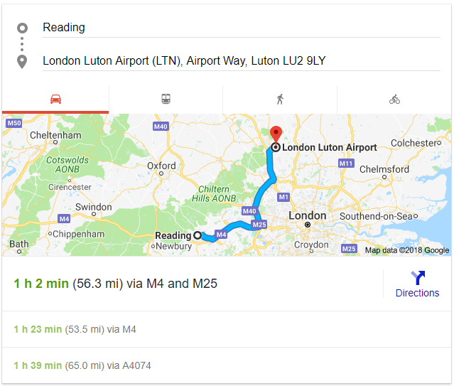 Reading to Luton Airport Transfers by Yell Cars Taxi service