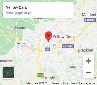 map of Reading showing yellow cars taxi office location